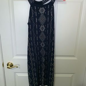 {White House Black Market } Navy and silver dress